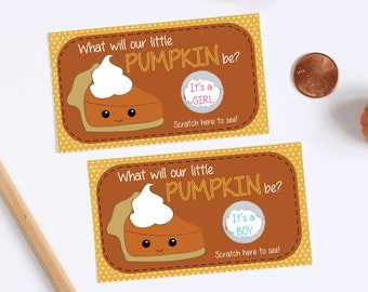 10 Custom Baby Gender Reveal Scratch Off Cards - Little Pumpkin Pie Thanksgiving