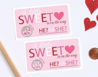10 Valentines Day Baby Gender Reveal Scratch Off Cards - Sweetheart
