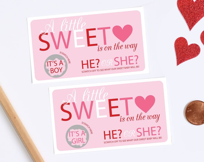 10 Baby Gender Reveal Scratch Off Cards - Sweetheart