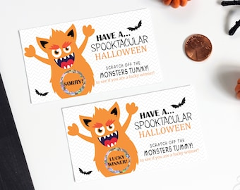 Halloween Monster Scratch Off Game Card - Halloween Party Game - Trick or Treat Scratch Off - 10 Cards