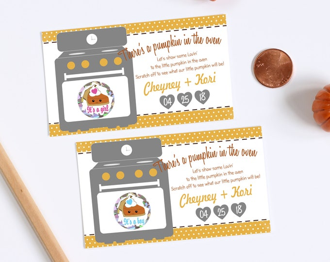 10 Custom Baby Gender Reveal Scratch Off Cards - Pumpkin Pie There's a Bun In The Oven Thanksgiving