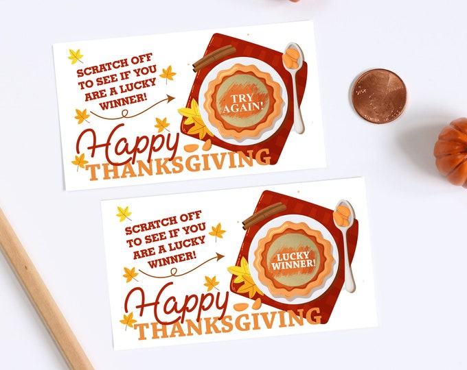 Happy Thanksgiving Scratch Off Game Cards - Turkey Party Game Scratch Off Game - Thanksgiving Party Game - 10 Cards