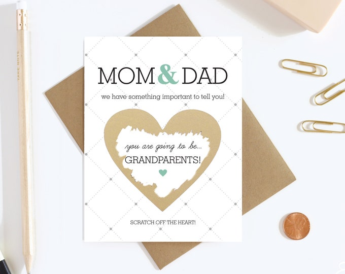 Grandparents Pregnancy Reveal Scratch off Card - Pregnancy Announcement - New Grandparents - Grandparents To Be - Grandma and Grandpa