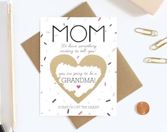 Scratch Off Card Pregnancy Reveal To Mom - Pregnancy Announcement - Grandma to Be Card