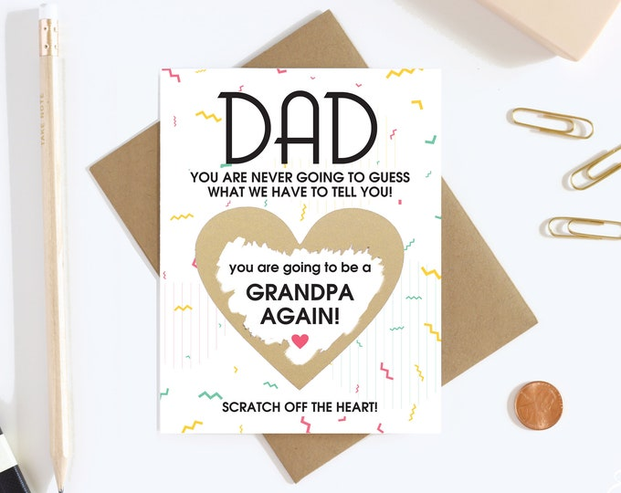 Scratch Off Card Pregnancy Reveal to Dad - Pregnancy Announcement - New Grandpa - Grandpa To Be