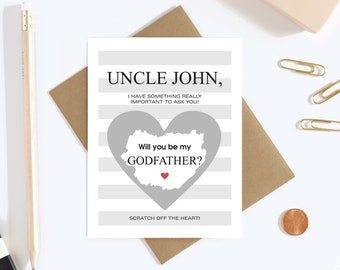 Will You Be My Godfather Scratch Off Card - Godfather Proposal Card - Godfather Card - Uncle Card