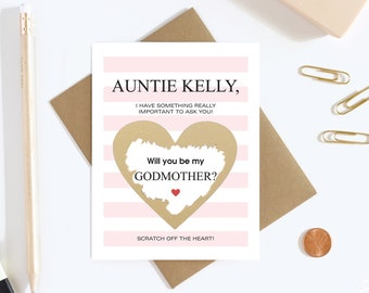 Will You Be My Godmother Scratch off Card - Godmother Proposal Card - Aunt To Be Card