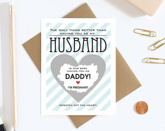 Pregnancy Reveal to Husband Scratch Off Card  - Pregnancy Announcement Card - Father To Be - Daddy To Be