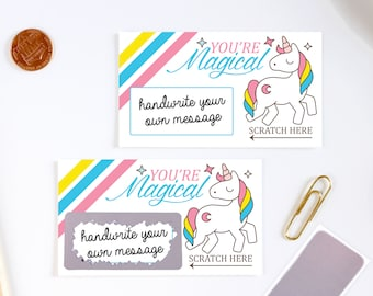 DIY Scratch off Cards Unicorn - Secret Message - Lunch Box Note - Teacher Rewards Card - 10 Cards