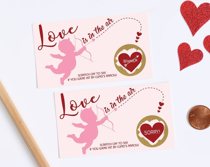 10 Valentines Day Scratch Off Game Cards - Cupid Bow & Arrow