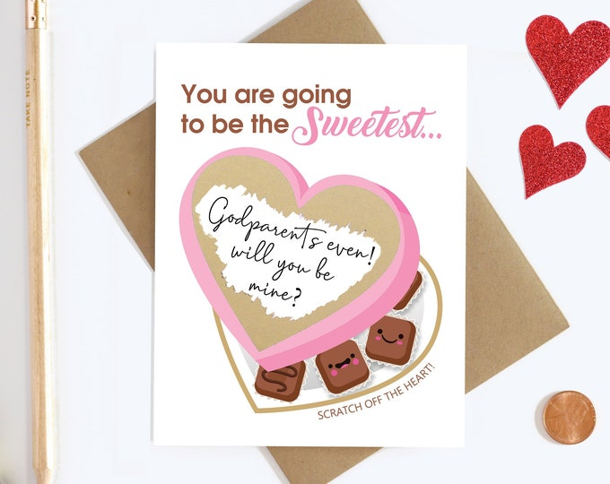 Will You Be My Godparents Scratch Off Card - Godparents Proposal Card - Godmother And Godfather Card