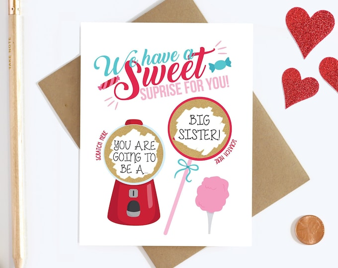 Featured listing image: Personalized Scratch Off Pregnancy Reveal - Big Sister - Aunt and Uncle