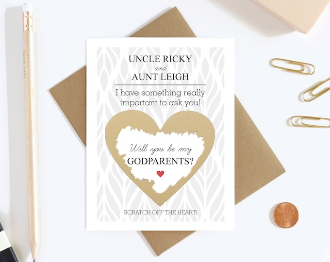 Will You Be My Godparents Scratch Off Card - Godparents Proposal Card - Godmother Godfather Card - Aunt and Uncle