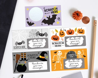 Halloween DIY Scratch off Cards - Secret Message - Teacher Rewards - Halloween Party Game - 10 Cards