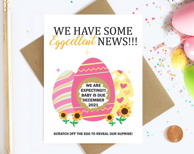 Personalized Scratch Off Pregnancy Reveal - Big Sister - Aunt and Uncle - Daddy to be