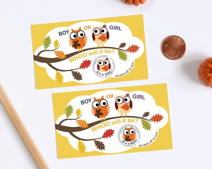 10 Baby Gender Reveal Scratch Off Cards - Whoo Will It Be Fall Owls