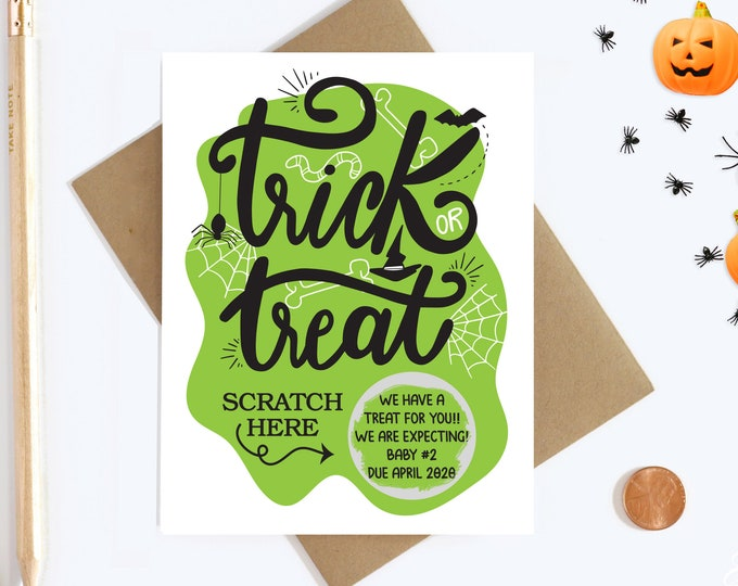Personalized Halloween Tick or Treat Scratch Off Pregnancy Reveal - Big Sister - Aunt and Uncle