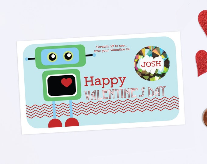 10 Valentines Day Scratch Off Cards - Robot