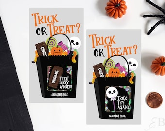 Halloween Scratch Off Game Cards - Halloween Party Game - Trick or Treat Scratch Off - 10 Cards