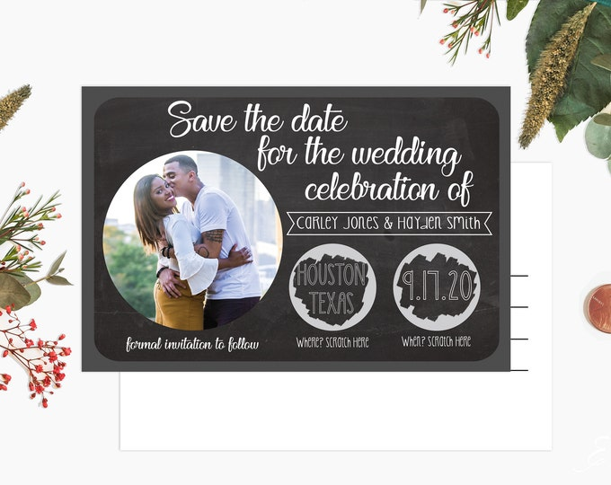 Featured listing image: Custom Scratch off Postcard Style Save The Dates