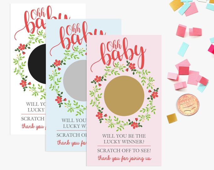 10 Ohh Baby Floral Scratch Off Game Cards - Baby Shower Game - Pink, Blue, White
