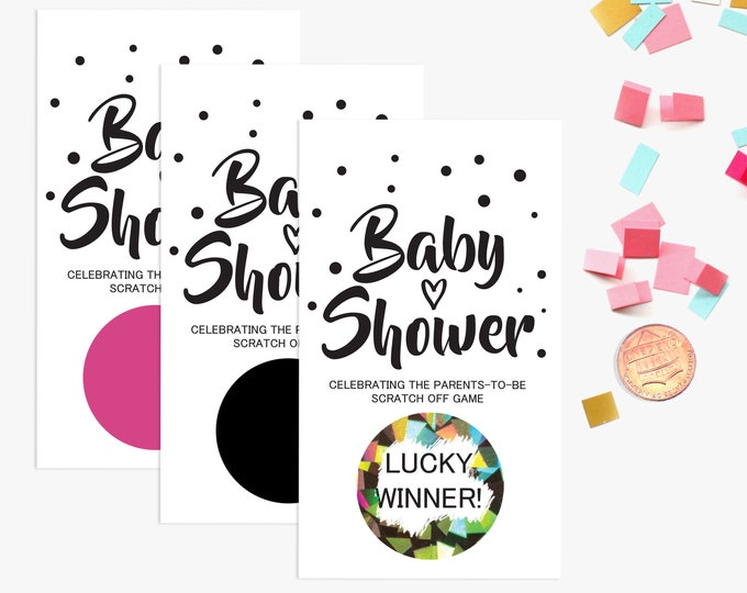 10 Glitter Baby Shower Scratch Off Game Cards - Baby Shower Game