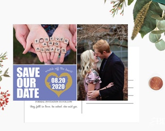 Custom Scratch off Postcard Style Save The Date Cards