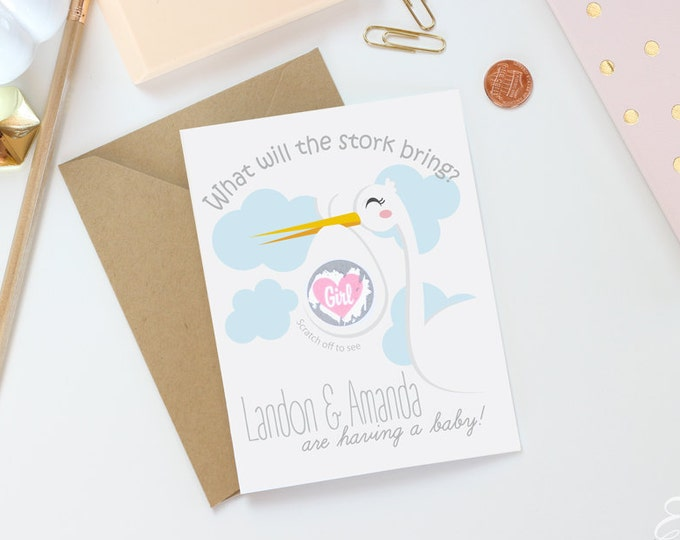 Gender Reveal Announcement Scratch Off Card - Baby Gender Reveal Card - Stork Baby Card
