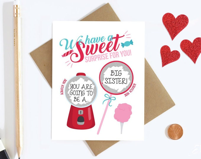 Big Sister Scratch Off Card - Guess What You're Going To Be A Big Sister - Pregnancy Announcement