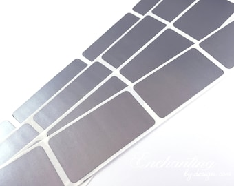 Silver 1 x 2 inch rectangle scratch off stickers