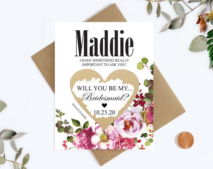 Bridesmaid Scratch Off Card - Will you be my Bridesmaid Cards - Bridesmaid Proposal Card