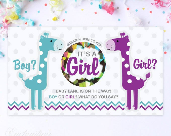 10 Custom Baby Gender Reveal Scratch Off Cards - Giraffe