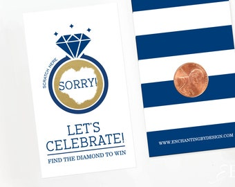 Navy Blue Bridal Shower Scratch Off Cards - Bridal Shower Game - Bachelorette Party Game