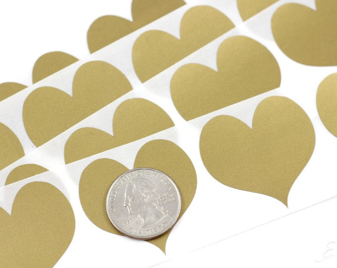 Gold Heart 1.50 inch scratch off stickers