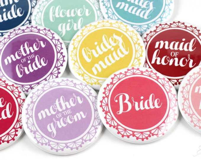 Custom Bachelorette Buttons - Bridal Party Buttons - Bride Buttons - Bachelorette Pins - Bachelorette Party Pins - Wedding Party Pins
