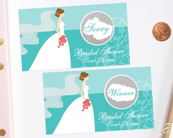 Jeweler Blue Bridal Shower Scratch Off Cards - Bridal Shower Game - Wedding Shower Game