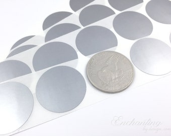 Silver 1.50 inch Round scratch off stickers