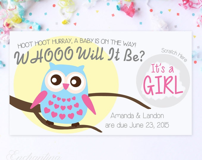 10 Custom Baby Gender Reveal Scratch Off Cards - Whoo Will It Be Owl