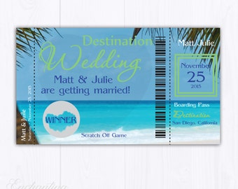 10 Destination Wedding Bridal Shower Scratch Off Cards - Bridal Shower Game - Bachelorette Party Games - Wedding Shower Game