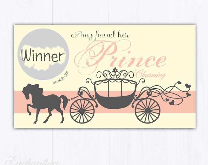 10 Blush Pink Carriage Fairytale Bridal Shower Scratch Off Cards - Bridal Shower Game - Bachelorette Party Game