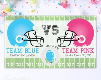 10 Custom Baby Gender Reveal Scratch Off Cards - Football Team Pink VS Team Blue