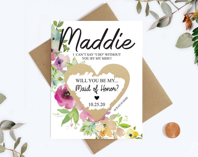 Maid Of Honor Scratch Off Card - Will you be my Bridesmaid Cards - Bridesmaid Proposal Card