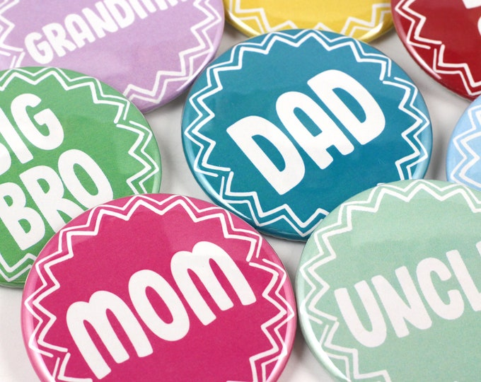Custom Color Baby Shower Pinback Button Mommy to be - Daddy to be - Big Sister - Big Brother - Grandma - Grandpa