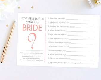 Digital File Bridal Shower Game How Well Do You Know The Bride?
