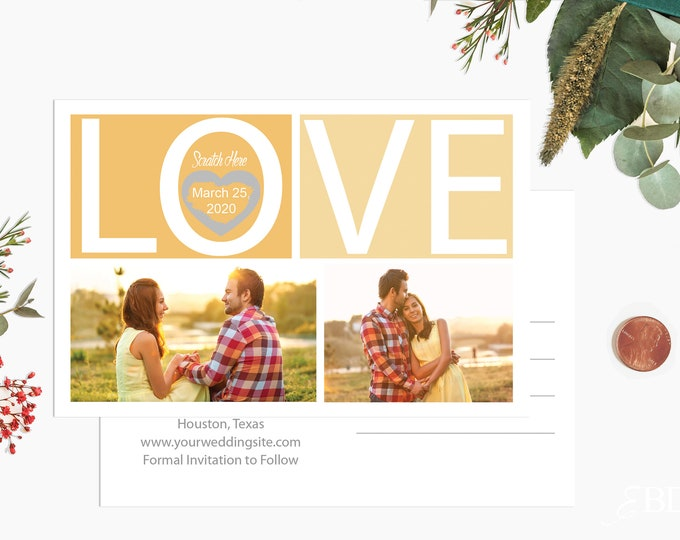 Scratch off Save The Date Cards -  Postcard Style Save The Date - Custom Photo Save The Date Cards