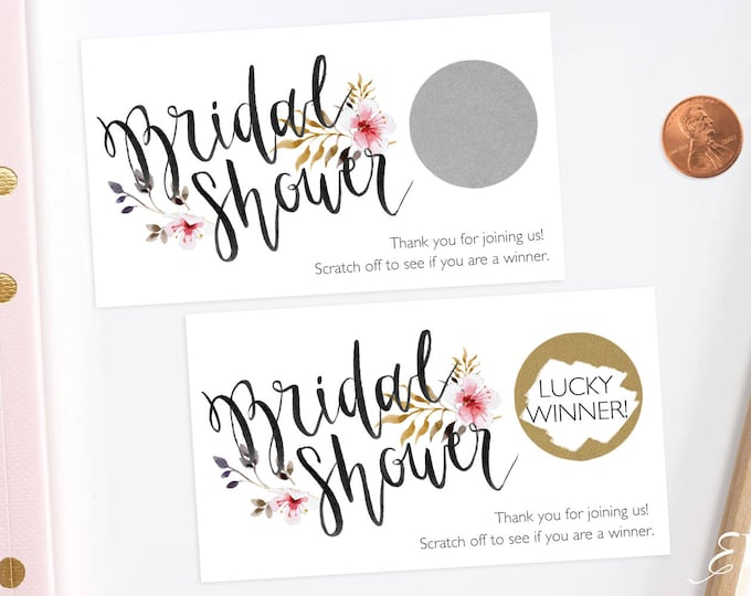 Rustic Floral - Bridal Shower Scratch Off Game - Bridal Shower Game - Scratch off Cards