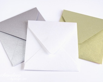 10 Square Metallic Mini Envelopes Perfect For Square Scratch Off Cards
