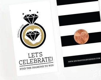 Black and Gold Bridal Shower Scratch Off Cards - Bridal Shower Game - Bachelorette Party Game