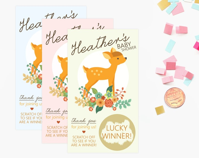 10 Custom Baby Deer Scratch Off Game Cards - Baby Shower Game - Pink, Blue, mint green