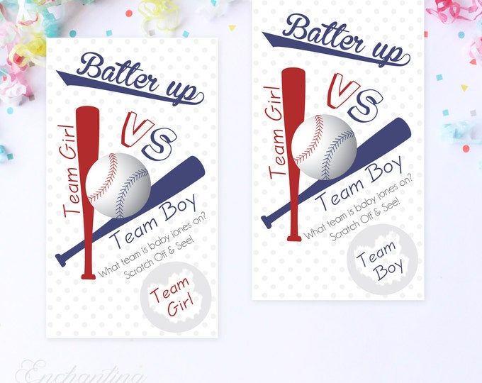 10 Custom Baby Gender Reveal Scratch Off Cards - Baseball Team Girl or Team Boy